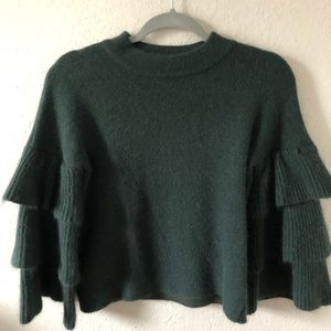 Forest Green Ruffle Sleeve Sweater
